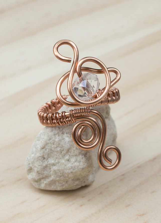 Copper ring ,adjustable ring, wire wrapped copper ring,