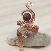 Copper ring ,copper ring-adjustable, wire wrapped jasper ring.
