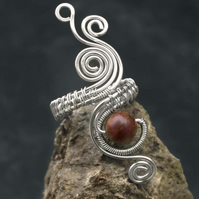 Silver plated jasper ring ,adjustable ring , wire wrapped jasper ring.