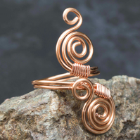 Copper ring ,copper ring-adjustable, spiral design ring .