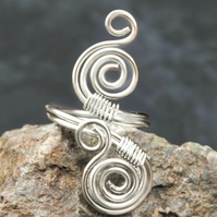 Silver ring ,silver plated ring-adjustable, spiral design ring .