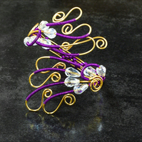 Handmade Bracelet violet Wire Wrapped bracelet ,gilt on copper wire