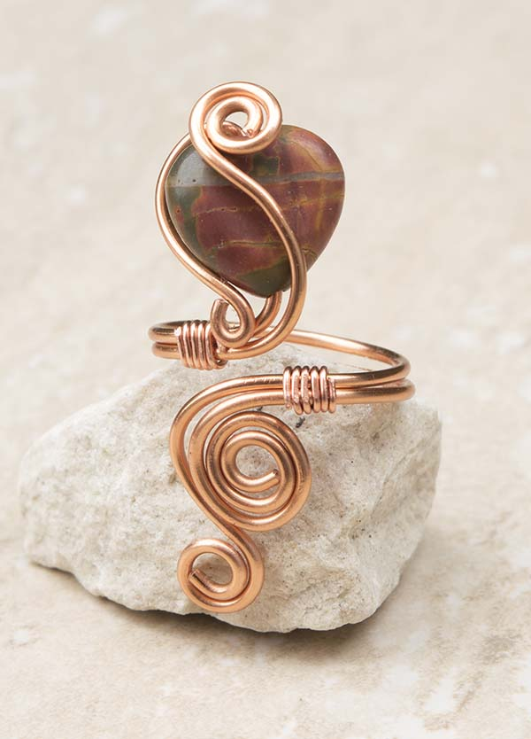 Copper ring jewellery,copper ring-adjustable. Heart Jasper stone ring.