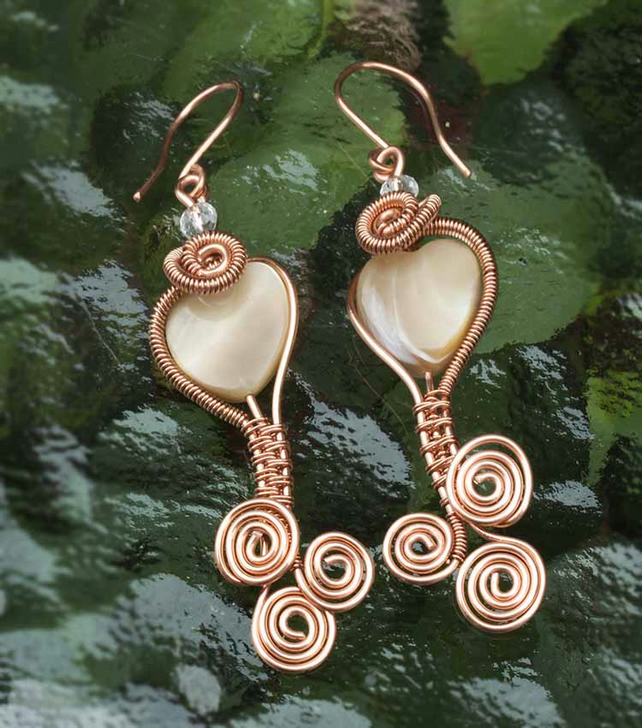 Copper wire wrapped pearl earrings, mother of pearl earrings .