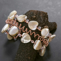 Mother of pearl Heart bracelet,wire wrapped bracelet,bangle.