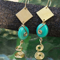 Gold Earrings,textured gold copper square earrings with Turquoise Ovals gemstone