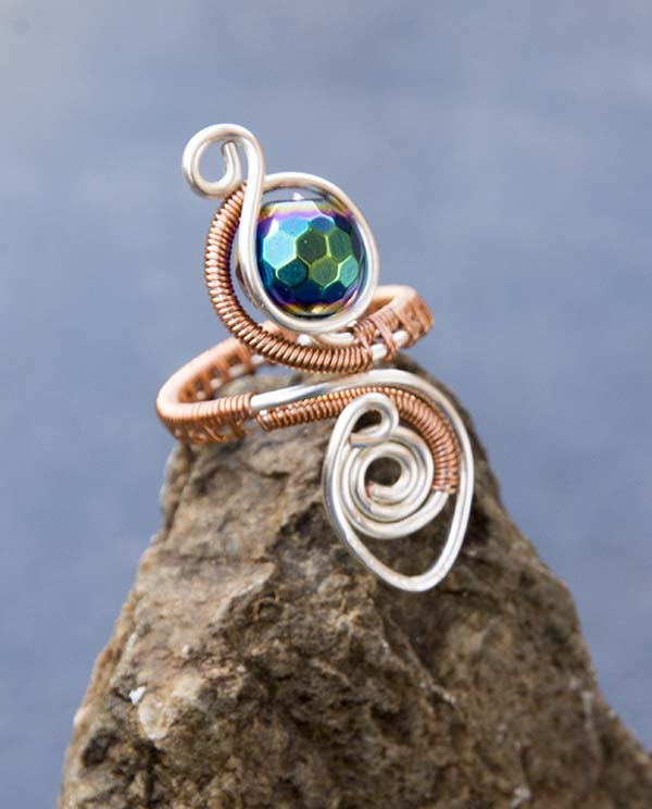 Copper and silver wire Haematite ring ,adjustable rainbow haemetite copper ring.