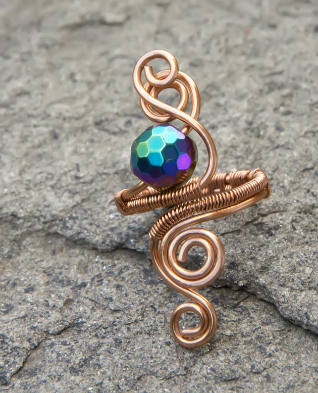 Copper Haematite  ring ,copper ring-adjustable, wire wrapped copper ring.