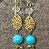 Gilt Earrings, textured Marquish Connectors with blue magnesite gemstone