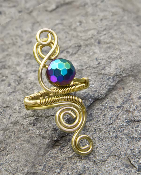 Gilt wire Haematite ring ,copper ring-adjustable, wire wrapped gilt gold ring