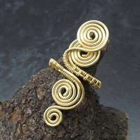 Spiral gilt ring jewellery,copper ring-adjustable, wire wrapped gilt copper ring