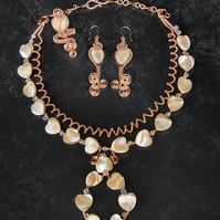 Jewellery set ,copper wire wrapped jewellery set,mother of pearl 4 pieces set.