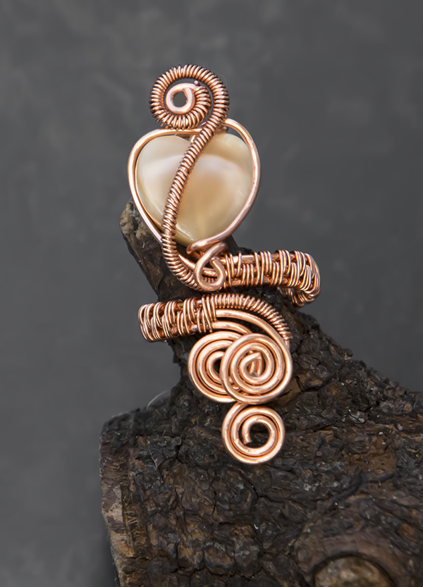 Copper wire wrapped pearl ring , mother of pearl ring