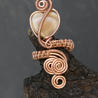 Copper wire wrapped pearl ring , mother of pearl ring-------Free UK delivery