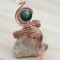Copper ring ,copper ring-adjustable, dark Green jasper ring,adjustable ring,