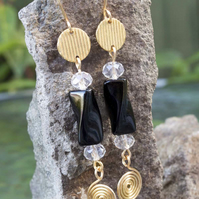 Gold textured round connector earrings with  Black Obsidian Twisted Tube stone