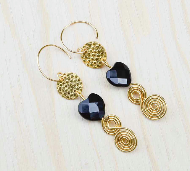 Gold textured round connector earrings with Black Agate Faceted Hearts agate.