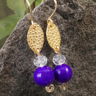 Earrings textured Marquish Connectors with purple magnesite gemstone