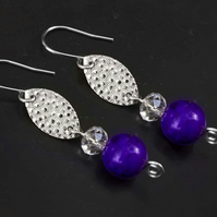Earrings textured silver Marquish Connectors with purple magnesite gemstone
