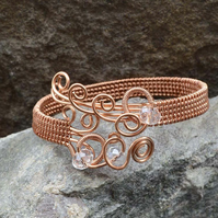 Wire wrapped copper bracelet,Woven Copper Cuff ,