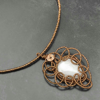 White Quartzite Pendant ,wire wrapped antique copper wire pendant -free P&P