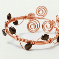 Wire wrapped copper bracelet cuff.Bronzite gemstone bracelet.