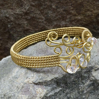 Wire wrapped copper bracelet,Woven bracelet Cuff gilt on Copper wire,