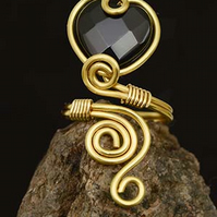 Black Agate heart  ring,gilt on copper wire wrapped ring .gold copper ring.