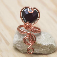 Copper black Agat heart  ring ,copper ring-adjustable,wire wrapped copper ring .