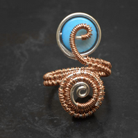 Copper ring .Blue shell ring-adjustable, spiral design ring ,adjustable ring.