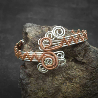 Wire wrapped copper bracelet,Woven bracelet Cuff silver plated Copper wire