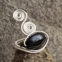 Black Agate Onyx silver ring jewellery,silver ring-adjustable, wire wrapped