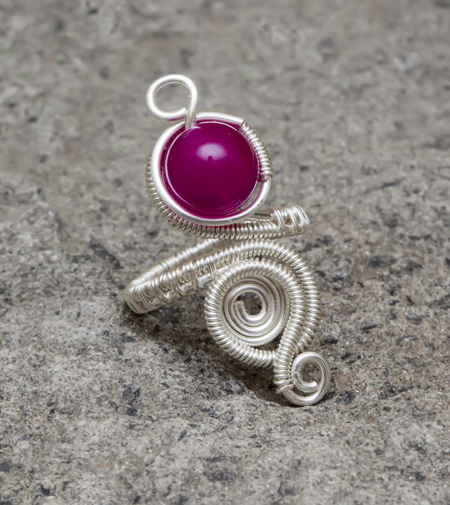 Silver ring,adjustable wire wrapped ring.Pink Quartz ring