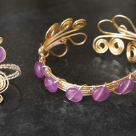 Pink Quartz ring and bracelet.Wire wrapped gilt bracelet and ring.