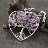 Tree of Life heart shape silver plated wire pendant, Amethyst pendant necklace.