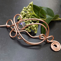 Copper wire hair Barrette, copper hair accessories,