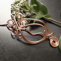 Copper wire hair slide,barrette, copper hair accessories,