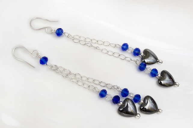 Haematite earrings,Dangle earrings,Haematite heart shape earrings.
