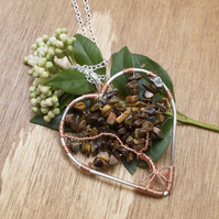 Tigers Eye pendant necklace.Tree of Life heart shape copper wire pendant,
