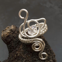 Swan ring design.Silver ring ,silver ring-adjustable wire wrapped silver ring .