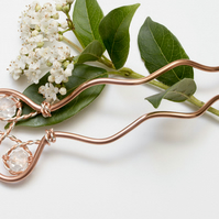Hair metal fork, wire wrapped copper pin, hair accessory, copper wire pin