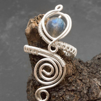 Labradorite Silver plated adjustable gemstone  ring.