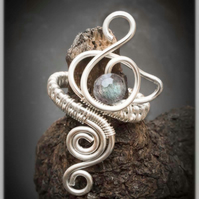 Labradorite Silver plated adjustable gemstone ring.Wire wrapped ring --swan ring