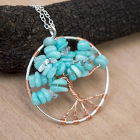 Wire Wrapped Tree-Of-Life Necklace Amazonite chip Necklace.