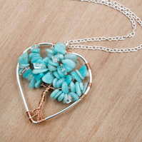 Tree-Of-Life Necklace Amazonite Necklace.wire wrapped necklace