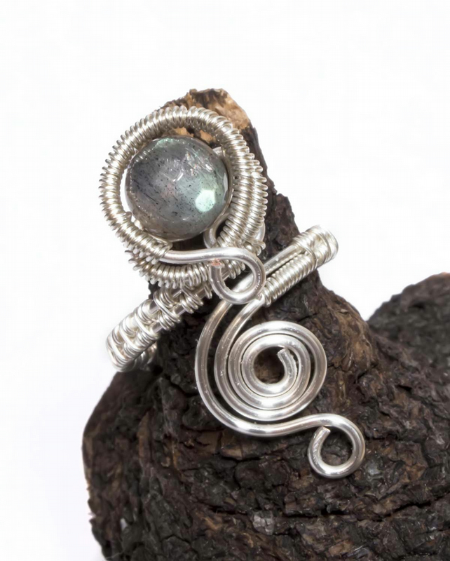 Labradorite Silver plated adjustable gemstone  ring.Wire wrapped ring.