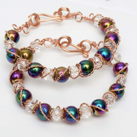 Wire wrapped copper bracelets,two braceletes pyrite rainbow  beads Special offer