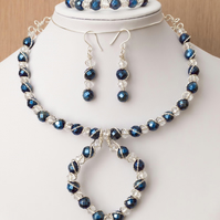 Silver wire wrapped blue coated pyrite jewellery set,