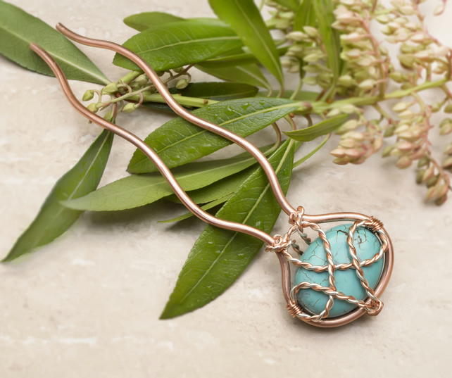 Turquoise hair metal fork, wire wrap copper pin, hair accessory, copper wire pin