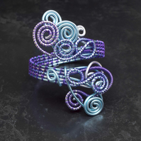Handmade spiral bracelet cuff ,silver and light blue Anodized Aluminum Wire